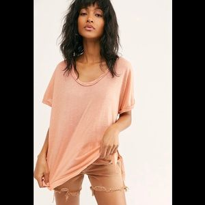 NWT Free People Under The Sun Tee Peach Pit